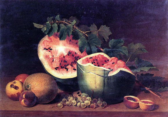James Peale Still Life with Broken Watermelon - Canvas Art Print