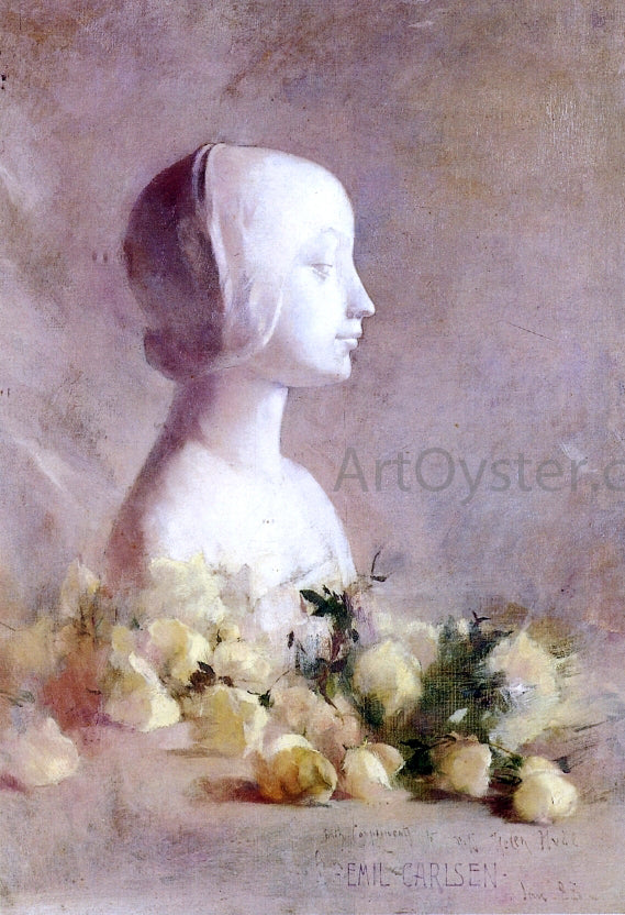 Emil Carlsen Still Life with Bust and White Roses - Canvas Art Print