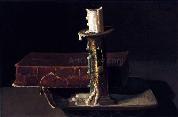 John Frederick Peto Still Life with Candlestick and Book - Canvas Art Print