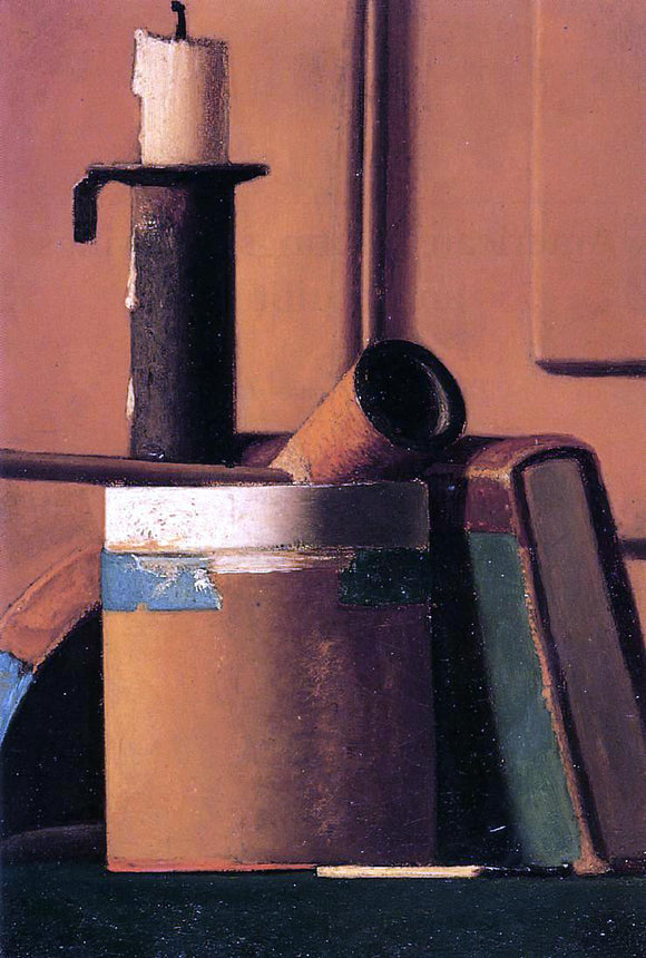 John Frederick Peto Still Life with Candlestick, Pipe and Book - Canvas Art Print