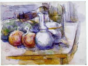 Paul Cezanne Still Life with Carafe, Sugar Bowl, Bottle, Pommegranates and Watermelon - Canvas Art Print