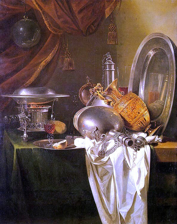 Willem Kalf Still Life with Chafing Dish - Canvas Art Print