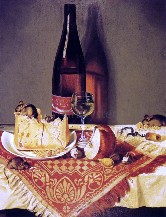 William Aiken Walker Still LIfe with Cheese, Bottle of Wine and Mouse - Canvas Art Print