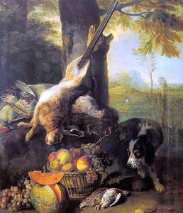 Alexandre-Francois Desportes Still Life with Dead Hare and Fruit - Canvas Art Print