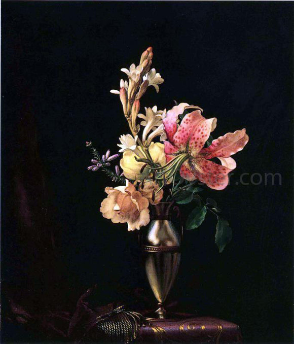 Martin Johnson Heade Still Life with Flowers in a Silver Vase - Canvas Art Print