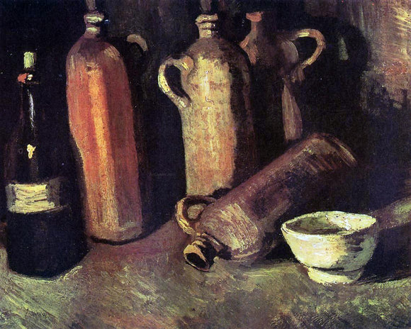 Vincent Van Gogh Still Life with Four Stone Bottles, Flask and White Cup - Canvas Art Print