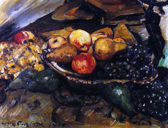 Lovis Corinth Still Life with Fruit and Wine Glass - Canvas Art Print