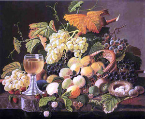 Severin Roesen Still Life with Fruit, Bird's Nest and Wine Glass - Canvas Art Print