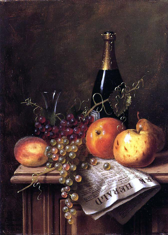 William Michael Harnett Still Life with Fruit, Champagne Bottle and Newspaper - Canvas Art Print