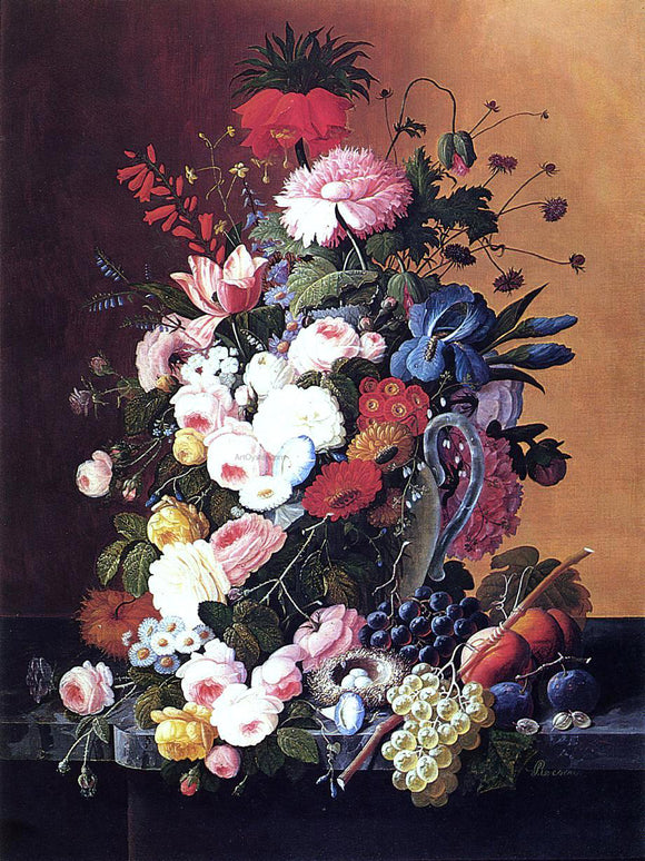 Severin Roesen Still Life with Fruits and Flowers - Canvas Art Print