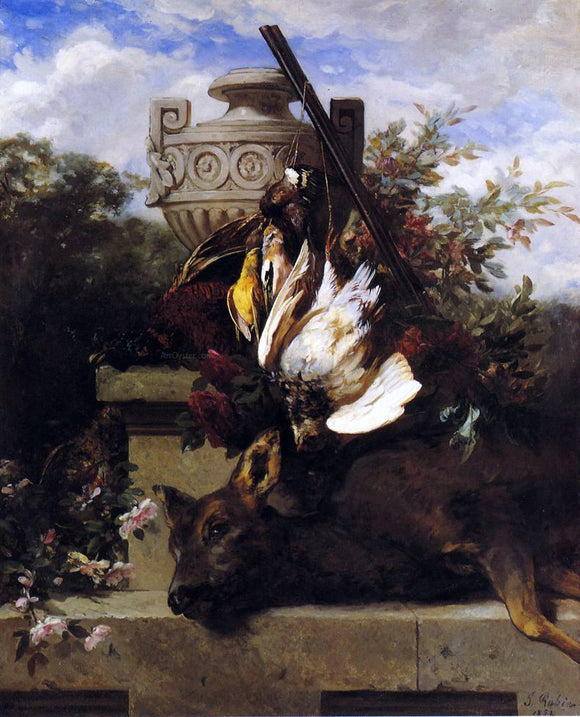 Jean Baptiste Robie Still Life with Game and a Rifle on a Marble Ledge with an Urn in a Flowery Landscape - Canvas Art Print
