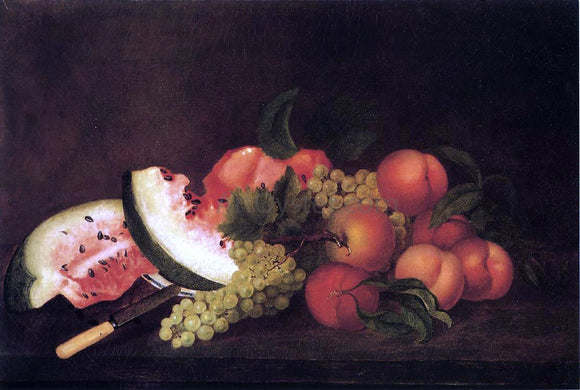 Rubens Peale Still Life with Grapes, Watermelon, and Peaches - Canvas Art Print