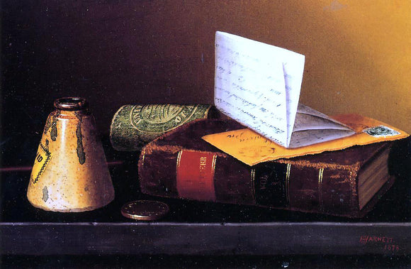 William Michael Harnett Still Life with Ink Bottle, Book and Letter (also known as Still Life with Universal Gazetteer) - Canvas Art Print