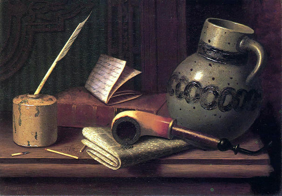 William Michael Harnett Still Life with Inkwell, Book, Pipe and Stoneware Jug - Canvas Art Print