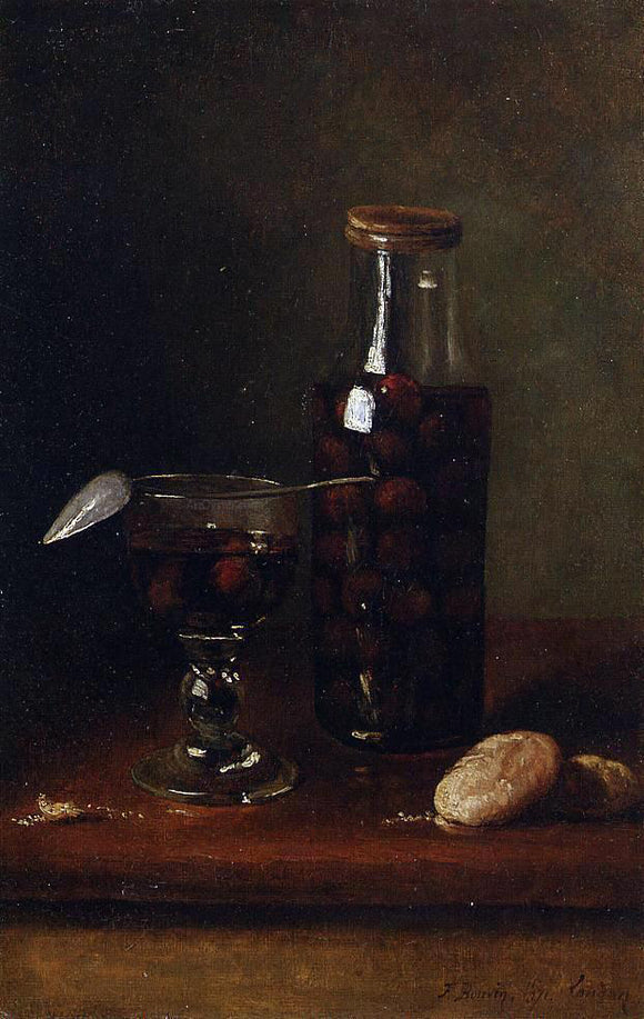 Francois Bonvin Still Life with Jar of Cherries - Canvas Art Print