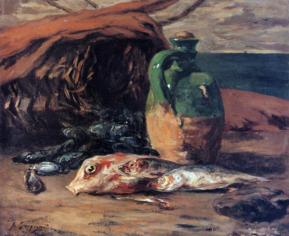 Paul Gauguin Still Life with Jug and Red Mullet - Canvas Art Print
