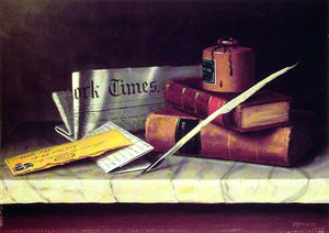 William Michael Harnett Still Life with Letter to Thomas B. Clarke - Canvas Art Print