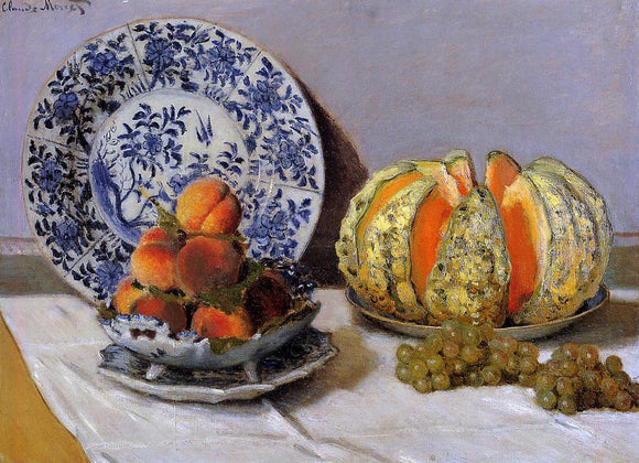 Claude Oscar Monet Still Life with Melon - Canvas Art Print