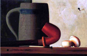 John Frederick Peto Still Life with Mug, Pipe and Oyster Crackers - Canvas Art Print