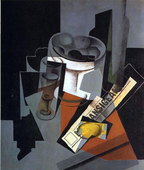 Juan Gris Still Life with Newspaper - Canvas Art Print