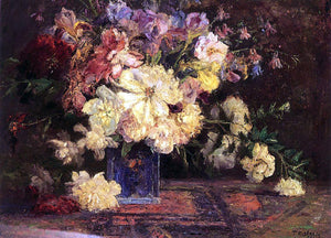 Theodore Clement Steele Still Life with Peonies - Canvas Art Print