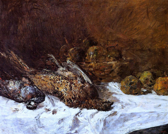 Eugene-Louis Boudin Still Life with Pheasants and a Basket of Apples - Canvas Art Print