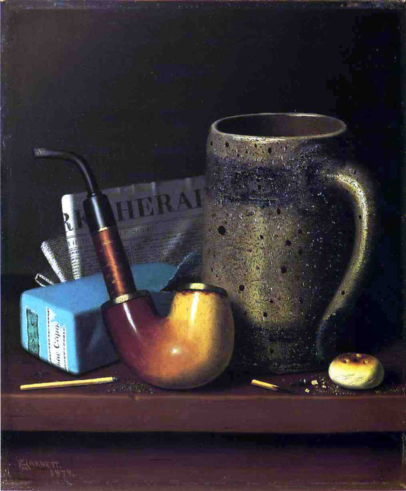 William Michael Harnett Still Life with Pipe, Mug and Newspaper - Canvas Art Print
