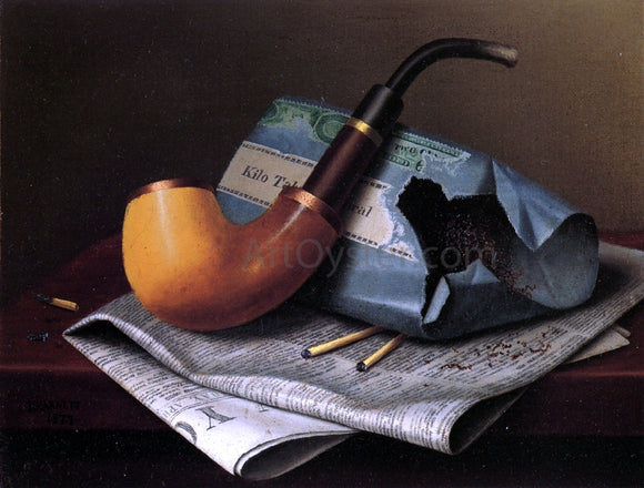William Michael Harnett Still Life with Pipe, Newspaper and Tobacco Pouch - Canvas Art Print