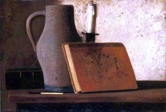 John Frederick Peto Still Life with Pitcher, Candlestock, Books and Match - Canvas Art Print