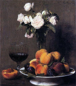 Henri Fantin-Latour Still Life with Roses, Fruit and a Glass of Wine - Canvas Art Print