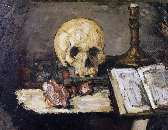 Paul Cezanne Still Life with Skull and Candlestick - Canvas Art Print