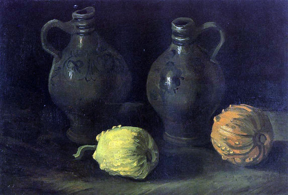 Vincent Van Gogh Still Life with Two Jars and Two Pumpkins - Canvas Art Print