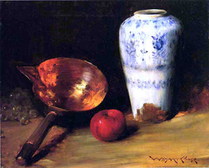 William Merritt Chase Still Life with China Vase, Copper Pot, an Apple and a Bunch of Grapes - Canvas Art Print