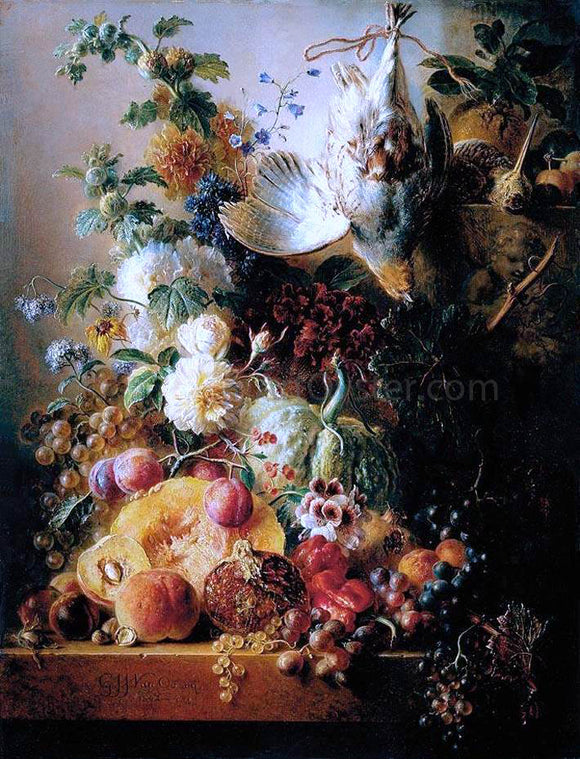 Georgius Jacobus Johannes Van Os Still-Life of Fruit - Canvas Art Print