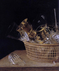 Sebastien Stoskopff Still-Life of Glasses in a Basket (detail) - Canvas Art Print