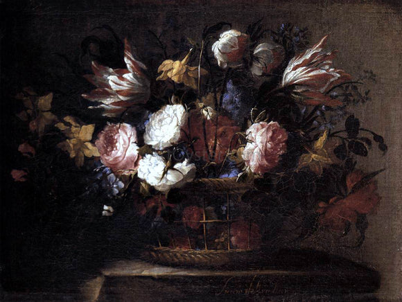 Juan De Arellano Still-Life with a Basket of Flowers - Canvas Art Print