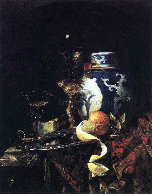 Willem Kalf Still-Life with a Late Ming Ginger Jar - Canvas Art Print