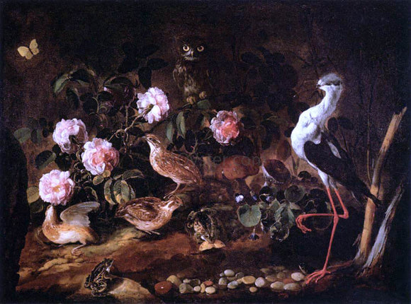 Paolo Porpora Still-Life with an Owl and an Ibis - Canvas Art Print