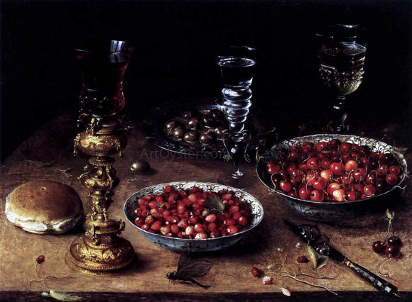 Osias Beert Still-Life with Cherries and Strawberries in China Bowls - Canvas Art Print