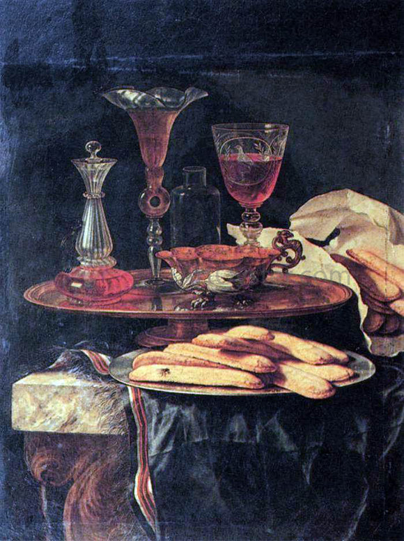 Christian Berentz Still-Life with Crystal Glasses and Sponge-Cakes - Canvas Art Print