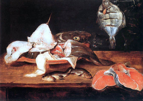 Alexander Adriaenssen Still-Life with Fish - Canvas Art Print