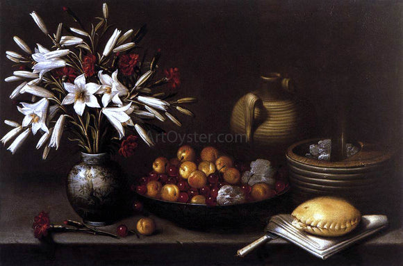 Francisco Barrera Still-Life with Flowers and Fruit - Canvas Art Print