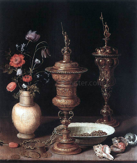 Clara Peeters Still-Life with Flowers and Goblets - Canvas Art Print