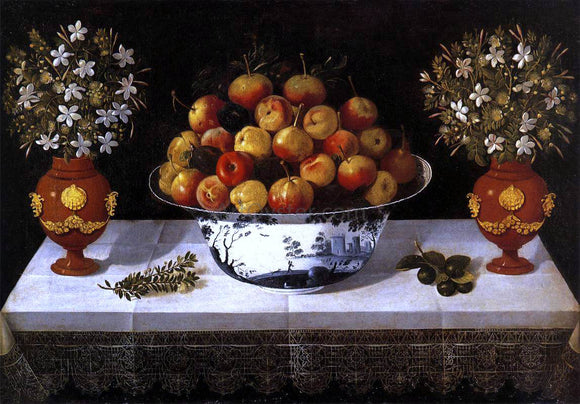 Tomas Hiepes Still-Life with Fruit and Flowers - Canvas Art Print