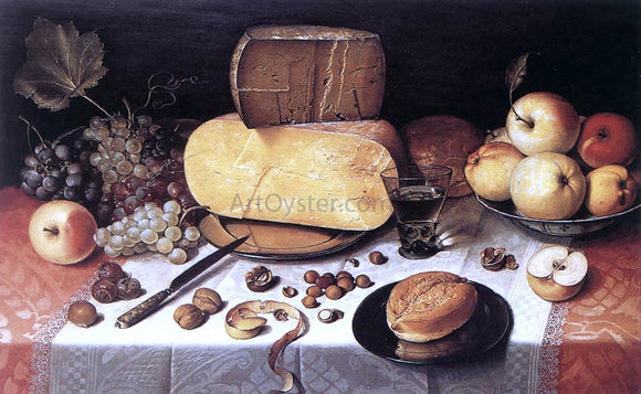 Floris Claesz Van Dijck Still-Life with Fruit, Nuts and Cheese - Canvas Art Print