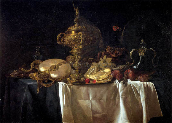 Willem Van Aelst Still-Life with Fruit, Parrot, and Nautilus Pitcher - Canvas Art Print
