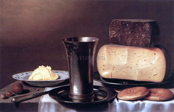 Floris Gerritsz Van Schooten Still-Life with Glass, Cheese, Butter and Cake - Canvas Art Print