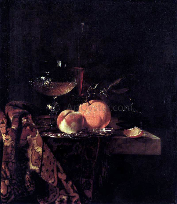 Willem Kalf Still-Life with Glass Goblet and Fruit - Canvas Art Print
