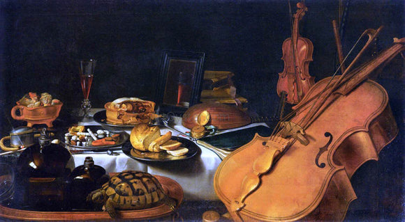 Pieter Claesz Still-Life with Musical Instruments - Canvas Art Print