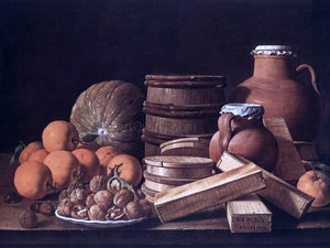 Luis Melendez Still-Life with Oranges and Walnuts - Canvas Art Print